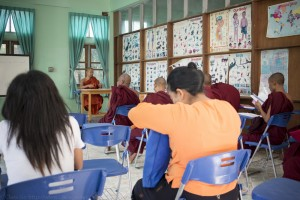 Sangha students in an English Dhammapada class