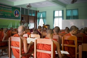 Pali class being taught to young monks.