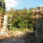 The front archway pillars being built into construction.