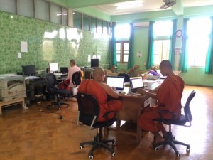 The Monks and Nuns working on the website development.