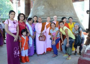 College Of Global Peace Students at Mingun Bell with some Italian Tourists