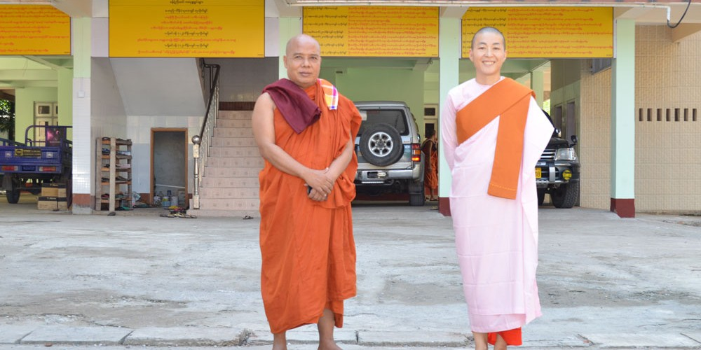 Sayadaw U Jotika & Sayalay Nandamala in front of College building at Oo Yin Moanstery