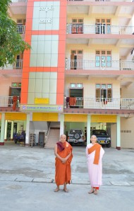 Sayadaw U Jotika & Sayalay Nandamala in front of College building at Oo Yin Moanstery